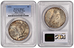 1922 $1 Early Hub Dies PCGS MS67