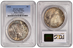 1922 Low Relief Early Hub Dies $1 PCGS MS67