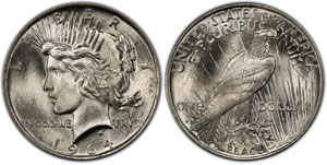 An artist's conception of the 1964-D Peace Dollar.