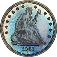 Legend Morphy 25C 1863 PCGS PR66Plus