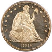 1868 $1 PCGS PR65CAM