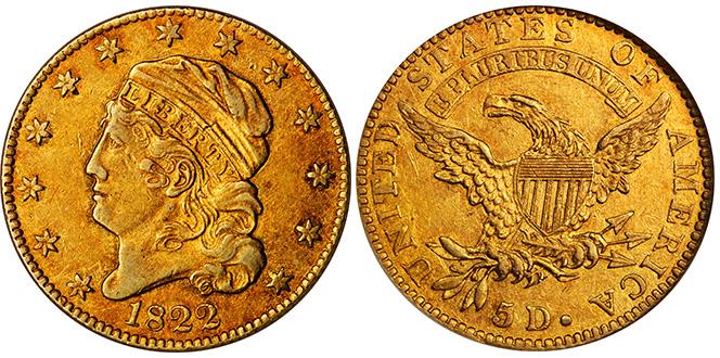 1822 Capped Head Left Half Eagle. BD-1. PCGS AU50