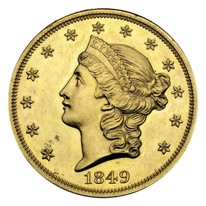 1849 $20 Liberty gold piece