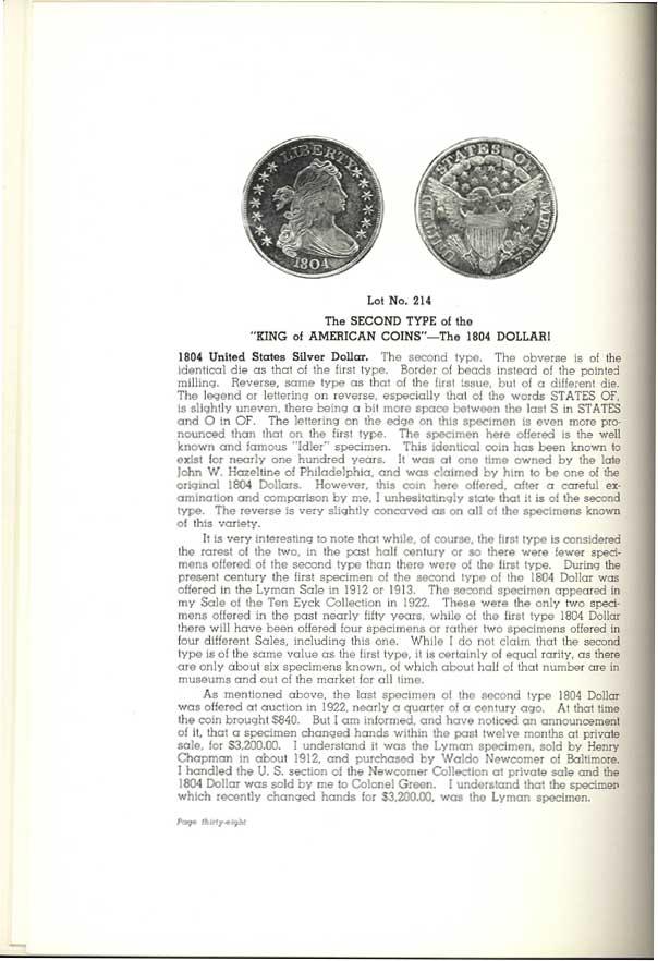 1804 Silver Dollar / Gobrecht Dollars